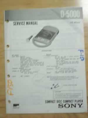 Sony Service Manual~ D-5000 CD Player My First Sony ~ Repair   mp