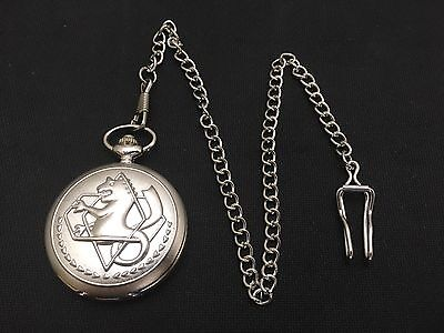 Fullmetal Alchemist Edward Elric State Silver Pocket Watch + Chain Cosplay Anime