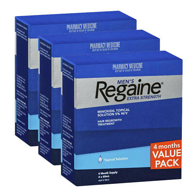 3 X Regaine Men's Extra Strength 4 Months Supply Hair Loss 5% Minoxidil Topical