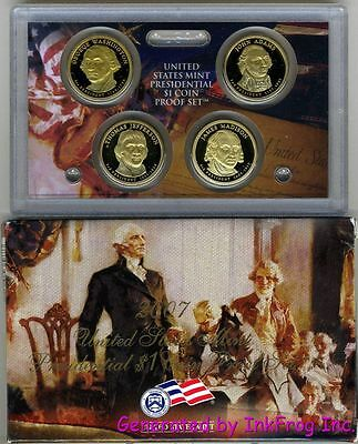 2007 S 4 Coin Presidential Dollar Proof Set Deep Cameo Gem Proof