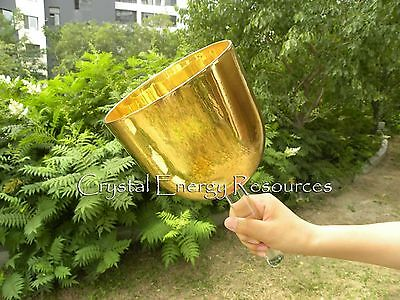 """Alchemy Solid 24 K Gold Plated Handle Clear A# Pineal Crystal Singing Bowl 5.5"""""""