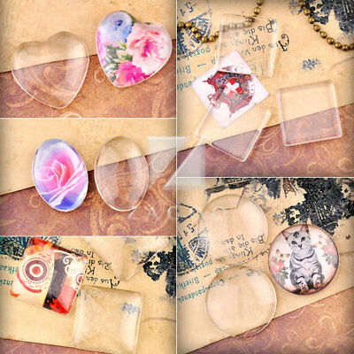 Clear Glass Cabochons Dome Round Oval Square Heart Flat Back Fit Cameo Settings