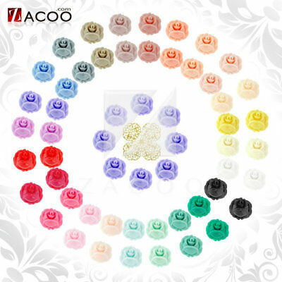Colorful Resin Cabochons flatback wholesale 10x10/15x15mm rose flowers for rings