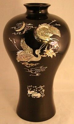 """Beautiful Large 11 3/4"""" Black Lacquer & Mother of Pearl Inlaid Korean Vase-41T!"""