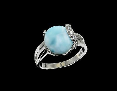 Larimar 10X12 Oval Shape w White Sapphire Ring  .925 Sterling Silver (Size 6)