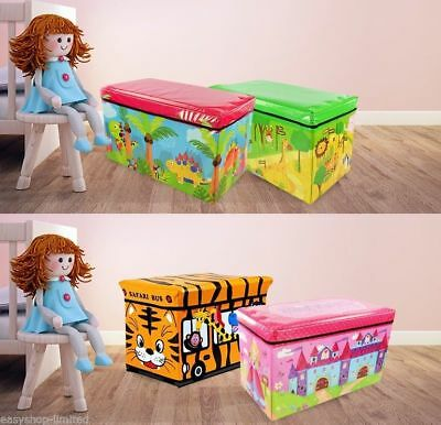 Large Toy Box Kids Boys Girls Storage Seat Stool Books Clothes Chest Childrens