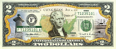 OHIO State/Park COLORIZED Legal Tender U.S. $2 Bill w/Security Features