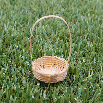 "NEW Oval Vintage Handmade 1""x2"" Weaving Basket Bamboo Wood Craft Miniature A1017"