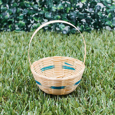 "2.5"" Vintage Handmade Miniature Woven Basket Bamboo Wood Green Decorate A1025"