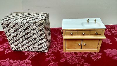 Vintage Concord Miniature Doll House Furniture Oak Porcelain Sink 3099 ✞