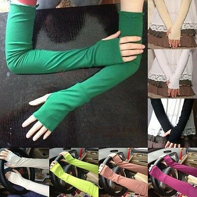 Women's Fashion Cotton UV Protection Arm Warmer Long Fingerless Gloves Sleeves