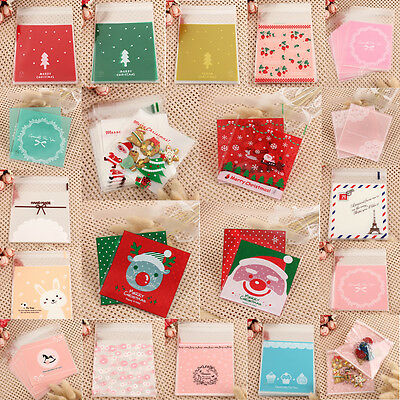 100pcs 10*10cm Cello Cookies Candy Bags Sweet Party Gift Christmas Santa