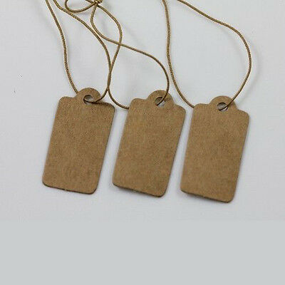 Lots 100Pcs Price Label Tags Blank Kraft Paper Card With Elastic String 30X15MM