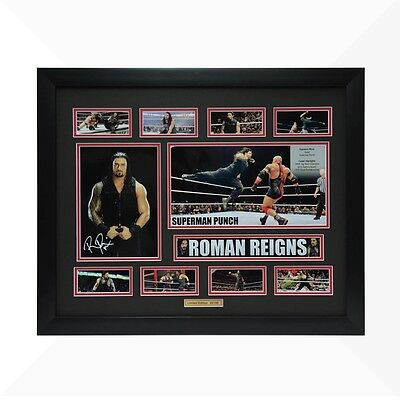 Roman Reigns WWE Signed & Framed Memorabilia - Black/Red Limited Edition