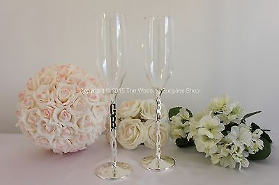 Wedding Reception Bride & Groom Toasting Champagne Flute Glasses - W207