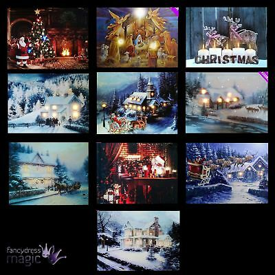 LED Light Up Hanging Canvas Pciture Xmas Christmas Scene Home Wall Decoration
