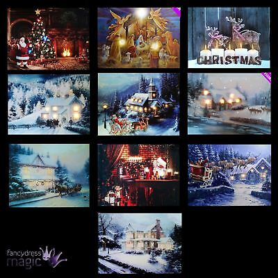 *led Light Up Hanging Canvas Picture Xmas Christmas Scene Home Wall Decoration*