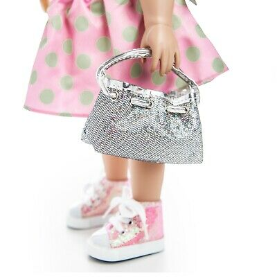 18 Inch Doll Silver Hobo Hand Bag, Fits American Girl Doll Clothes & Accessories