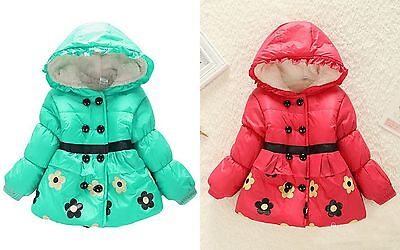Baby toddler girls flower red green fleece winter coat jacket (6-12&12-18M left)