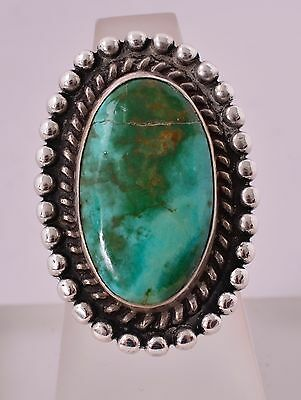 Vintage Old Pawn Navajo Sterling Silver Green Boulder Turquoise Ring