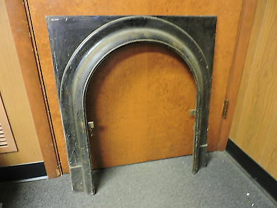 ANTIQUE LATE 1800'S CAST IRON ARCHED FIREPLACE INSERT COVER FRAME c