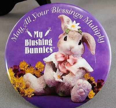 "ENESCO May All Your Blessings Multiply MY BLUSHING BUNNIES 3"" Pin Pinback Button"