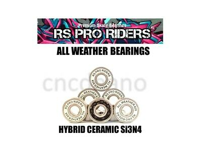 ALL WEATHER CERAMIC Si3N4 & S/S 608 RS BEARINGS SKATEBOARD SCOOTER ROLLER HOCKEY