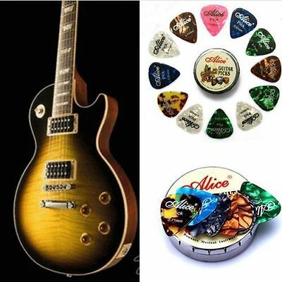 12 Pcs Guitar Pick Classic Pattern 3 Sizes Mix Colors Metal Box Easy Carrying