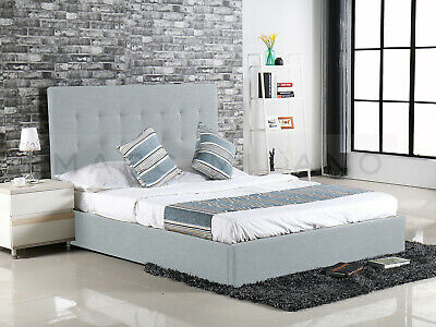 New Luxury Queen Size Alexis Gas Lift Storage Charcoal Grey Fabric Bed Frame