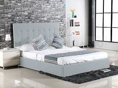 Queen Size Bed Frame Alexis Gas Lift Storage Grey/charcoal Fabric Luxury New