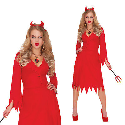 Womens Red Hot Devil Fancy Dress Costume Ladies Satan Halloween Party Outfit