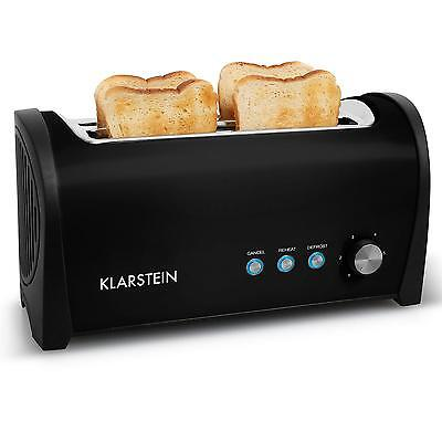 Four Slice Electric Bread Toaster Black 2-Slot Kitchen Toasters Warm Rack