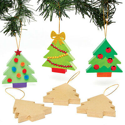 Christmas Tree Craft Decorations for Children to Paint Decorate (Pack of 6)