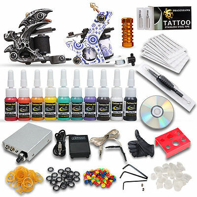 Professional Complete Tattoo Kit 2 Top Machine Gun 10 Color Inks 20 Needles
