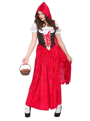 Deluxe Red Riding Hood Costume Adult Womens Long Fancy Dress Book Day Outfit