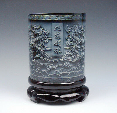 Top Quality Stone Carved In Relief *9 Dragons & Pearl Ball* Brush Pen Holder Pot