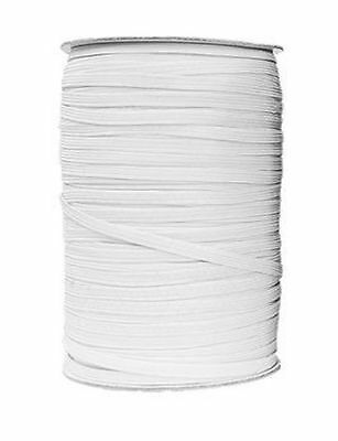 Elastic White 12 Cord Flat, 1/3 Inch/8Mm Wide, Available In Different Lengths