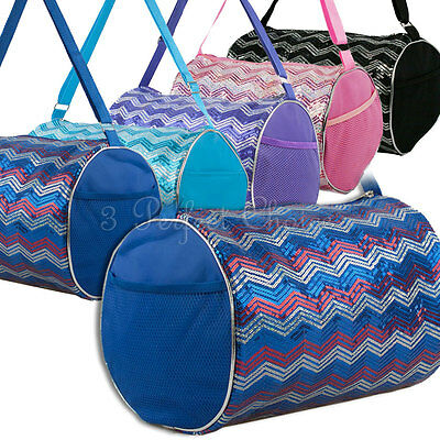Girls Dance Chevron Wave Sequin Duffle Bag Gymnastics Cheer Gym Option Colors