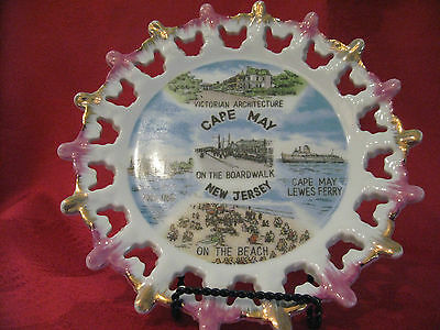 Cape May New Jersey Souvenir Plate Vintage Victorian Architecture Boardwalk