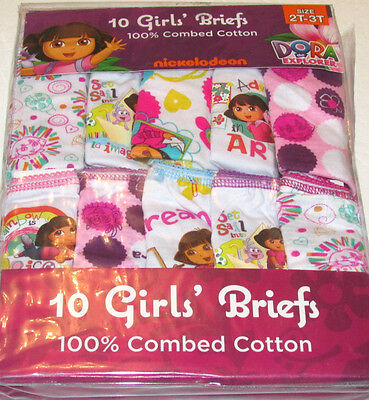 10 x Girls Dora The Explorer Combed Cotton Briefs / Knickers 2-3 Years, 10 Pack