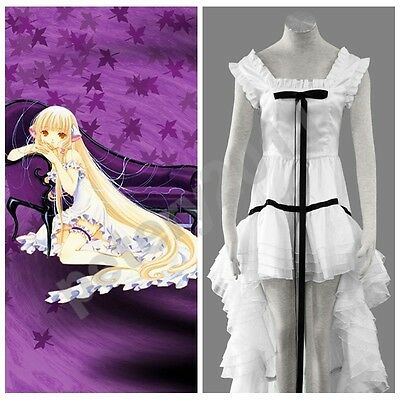 Custom-made Chobits Anime Chi Chii White Dress Halloween Cosplay Costume Cos