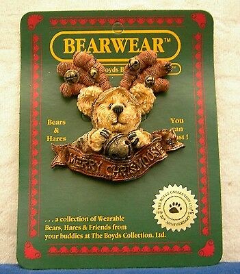 Boyds Bears and Friends Bearwear Pin Hergatroid Merry Chrismoose 26027