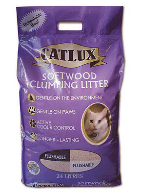 Catlux Softwood Maximum Odour Control Cat Clumping Litter 24L- Gentle On Paws!
