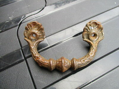 Cast Iron Drawer Handle Chest Pull Ornate Shell Gilt Design Old Salvaged