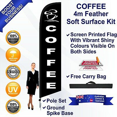 COFFEE Black 4m Feather Flag Kit Outdoor Ground Spike Swooper Banner Sign