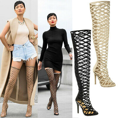 Ladies Womens Cut Out Over The Knee Thigh High Stiletto Heels Boots Sandals Size