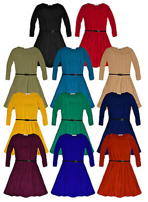 Girls Long Sleeved Skater Dress New Plain Party Flared Dresses Ages 5 - 13 Years