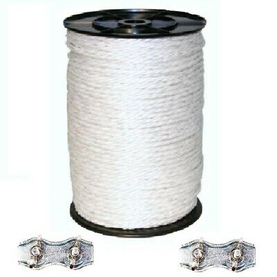 6MM WHITE ELECTRIC POLY ROPE - 400m Roll Fence Fencing Horse Paddock 6 x 0.20mm