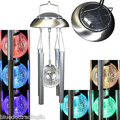 Brushed Aluminum Glass Ball Light Wind Chime Solar Color Changing Outdoor Garden