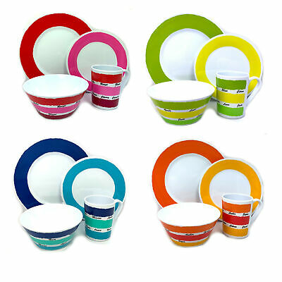 NEU Colour Work 1 bis 4 Pers Melamin Camping Geschirr Campinggeschirr Dinner Set